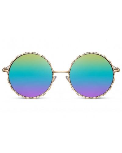occhiali-da-sole-montatura-mettalo-colore-oro-lenti-rotonde-specchio-specchiate-iridescente-arcobaleno-old-skull-seregno