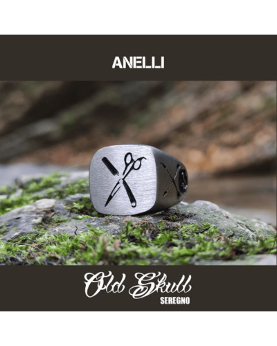 anello-barber-forbici-lama-rasoio-a-mano-acciaio-316L-old-skull-seregno