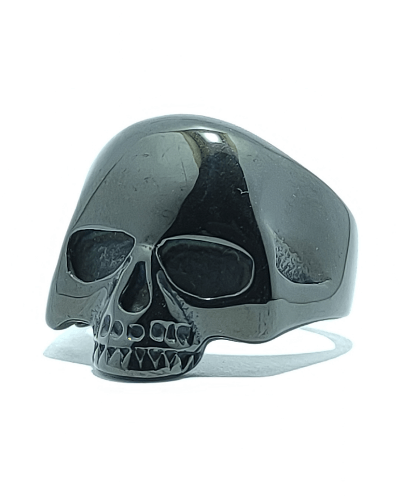 ANELLO TESCHIO NERO UOMO DONNA UNISEX ACCIAIO 316L-chirurgico-old-skull-seregno-monza-e-brianza