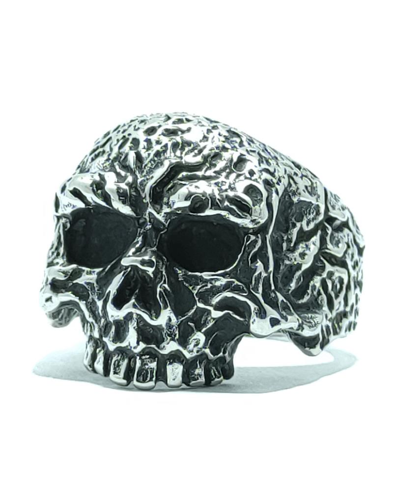ANELLO TESCHIO MACABRO UOMO DONNA UNISEX ACCIAIO 316L-chirurgico-old-skull-seregno-monza-e-brianza