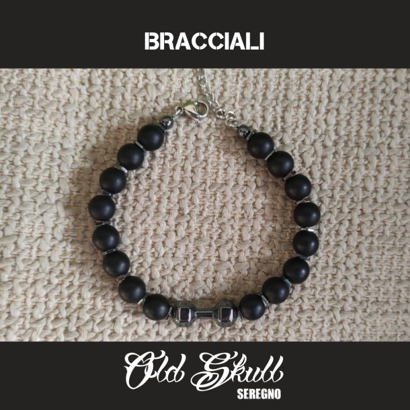 bracciale-manubrio-palestra-perle-nere-opache-old-skull-seregno